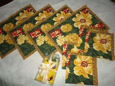 TRADEWINDS SUNFLOWERS YELLOW GREEN FLORAL (14PC) PLACEMATS, NAPKINS, HOLDERS
