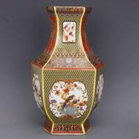 """10"""" Collect Chinese Colour Enamels Porcelain Peach Tree Magpie Bird Flower Vase"""