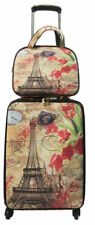 Nima Fashion Paris Spring Print 2pc Carry On Luggage 4 Wheeled Spinner & Vanity