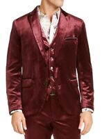 INC Mens Blazer Red Size Small S Velvet Two-Button Slim Fit Notched $149 #059