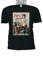 Sexy Tattooed Motorcycle Girl Flying Cloud Topless Men Women Unisex T-shirt 763