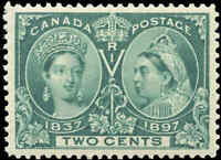 1897 Mint H Canada VF Scott #52 2c Diamond Jubilee Issue Stamp