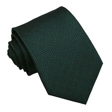 Dark Green Mens Tie Woven Greek Key Patterned Classic Wedding Necktie by DQT