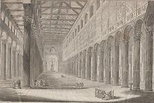 Gravure XVIIIe, Saint-Paul-hors-les-Murs, Rome. Engraving incisione Roma 18th