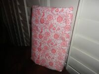 AMERICAN HOMES TEXTILE CORAL WHITE DANCING FLORAL TWIN/XL TWIN FLAT SHEET 64X96