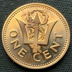 Barbados 1973    1 Cent Proof Cameo     Bronze Coin     #K481