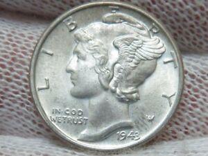 1943 P Silver Mercury Dime GEM BU Uncirculated and free shipping