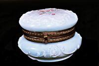 Antique Wave Crest White Soft Blue Glass Dresser Vanity Box Red Flowers 4 inch