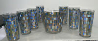 Vintage Glass MCM Highball Glasses and Ice Bucket Barware- Arch Window Pattern