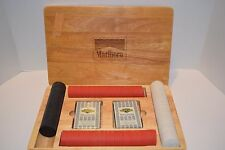 1996 Marlboro Poker Chip Set In Heavy Wood Oak Case With Clay Chips & Cards