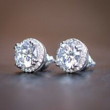White Gold Plated Round Princess Cut Solitaire CZ Simulated Screw Stud Earrings