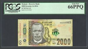 Malawi 2000 Kwacha 1-6-2016 P69 Uncirculated Graded 66
