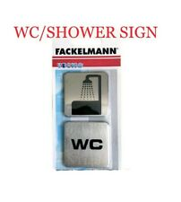 FACKELMANN SELF-ADHESIVE WC / WC TOILET BATHROOM SIGN DOOR PLATE - 2 PIECES NEW.