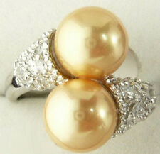 Double Golden Yellow Shell Pearl Crystal White Gold Plated Ring Size: 6.7.8.9