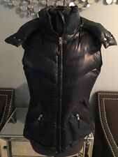 J. Crew Shiny Puffer Down Filled Jacket Vest Navy Blue with Hoodie XS EUC $138
