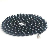 Genuine Real Natural Black Pearl Necklace Choker Long 35 inch