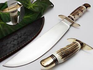 SMITH KRAFT CUSTOM HANDMADE D2 STEEL SHARP EDGE HUNTING DAGGER BOWIE KNIFE STAG