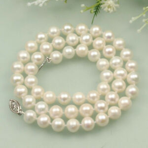 """Fashion Natural 7-8mm White Black Pink Freshwater Cultured Pearl Necklace 18"""""""