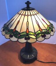 """Quoizel Bronze Tiffany Style Stained Glass Table Lamp Dragonfly 16"""""""