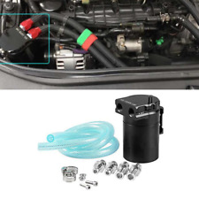 Black Universal Aluminum Racing Engine Oil Catch Reservoir Tank Cans & Fitting