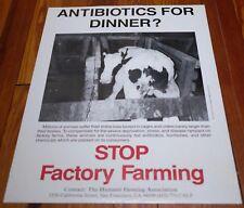 Vtg Humane Farming STOP FACTORY FARMING Vegan Animal Rights Activist POSTER