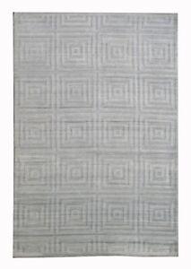 "8X10 Modern Handmade Silk Area Rug Ivory Contemporary Carpet (7'8"" x 9'10"")"