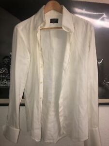 William Hunt Saville Row M White Fitted Shirt Pointed Collar.