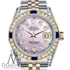Women's Rolex SS Gold 31mm Datejust Watch Pink MOP Dial Sapphire & Diamond Bezel