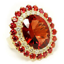 Vintage Garnet Cocktail Ring with Diamond's & Garnet's 14K Yellow Gold 25.50ctw
