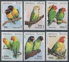 LAOS N°1257/1262** Oiseaux perroquets, 1997, Birds parrots Sc#1312-1317 Set MNH
