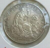 1916 FG Peru 1/5 Sol - Nice Silver - Better Date