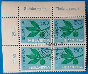 SUIZA/SUISSE/SWITZERLAND 1965 & 1967 EUROPA BLOQUE DE 4/BLOCK OF 4,CTO STAMPS