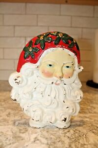 VINTAGE Santa Claus Face Cast Iron Painted Door Stop Holiday Christmas