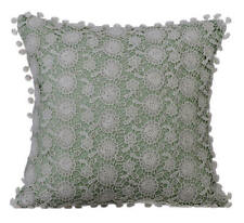 Pastel Green 18x18 inch Luxury Pillow Cover, Linen Floral - Crochet Rose