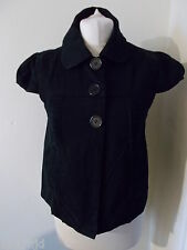 Women's Black  Cap Sleeve Collared Jacket By Atmosphere Size 12
