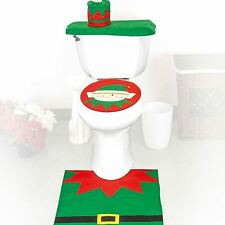 3 x Festive Elf Decorative Toilet Seat Cover & Rug Bathroom Set Christmas Xmas