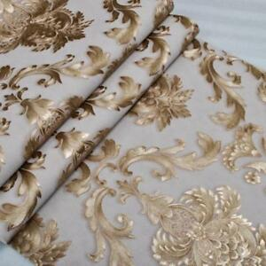 10M PVC Luxury Gold  Metallic Textured Damask Wallpaper Roll  Home Decor