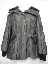 Betsey Johnson Womens XL Metallic Gray Hooded Puffer Jacket Missing Belt
