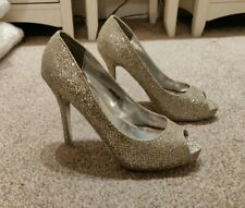 NEW PRIMARK GLITTER HEELS SHOES PEEP TOE SIZE 5 PARTY WEDDING OCCASION