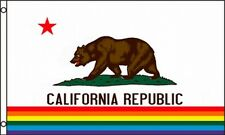 California Rainbow Flag 3x5 ft Gay Lesbian LGBT Pride State CA Banner Stripe