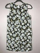 J. Jill Women's Petite XS Dress Love Linen Black Blue Floral Sleveless Pocket