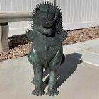 "ANTIQUE Bronze SINGHA Temple Lion GUARDIAN FOO DOG patina HUGE 24"" DRAGON 25 lbs"