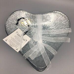 x4 Akcam Turkish Glass Silver Glitter Heart Appetizer Dessert Plate Dish Set NEW