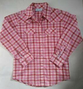 WRANGLER girls size 6 shirt pink check  western metallic thread pearl snap