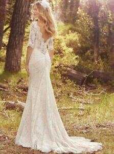 Maggie Sottero McKenzie Lace Wedding Dress Quarter Sleeve 16