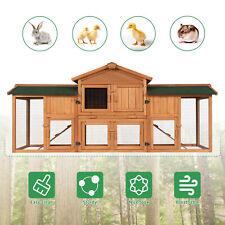 Wooden Deluxe Rabbit Hutch Chicken Coop Hen House Bunny Pet Animal Backyard Run
