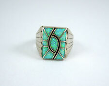 Vintage Navajo Norman Lee Sterling Silver Inlaid Fire Opal Mens Ring Size 12 1/4