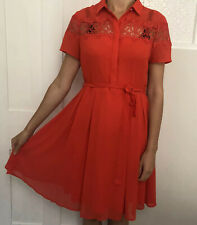 Dorothy Perkins Women Dress Size 12 Red Knee Length Short Sleeve Lace 1/2 Button