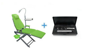 Portable Dental Chair LED Light Enamel Cuspidor Tray+NSK Style Air Scaler 4H NEW
