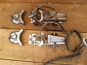 Vintage Salomon Snow Ski Bindings Made in France Look Leather Straps